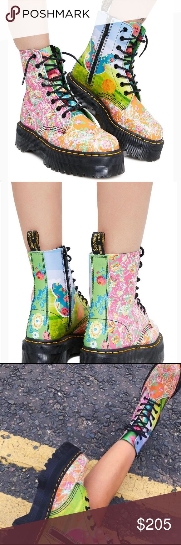 💕Doc Martin Women's Jadon Daze Fashion Boot. New The Jadon is a fierce evolution of the iconic Dr. Martens 8-eye boot, with a toughened-up, super-chunky platform sole. Combine that with an amped-up, neon floral print designed to channel the late 80s acid house movement, and you've got a serious statement boot. Dr. Martens Shoes Lace Up Boots