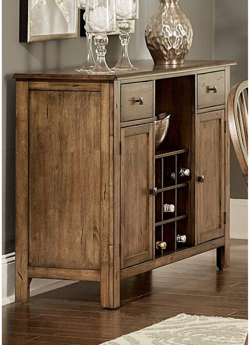 Liberty Furniture Carolina Crossing Transitional Dining Server with Removable Wine Bottle Storage