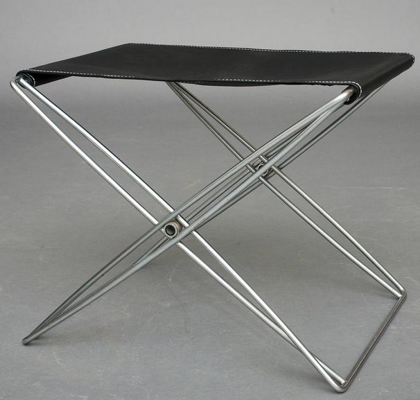 Steel And Leather Folding Stool For Design Forum,