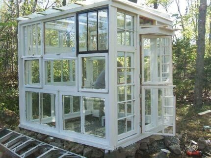 homemade greenhouse pictures | ... .com: Salvaged Window Greenhouses, Cabins, n' Micro Structures