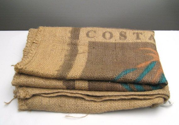 Cost Rica Coffee Burlap Sack Large 40 x 29   This is a really interesting piece that would look great hanging on a wall, framed, or used to reupholster furniture.