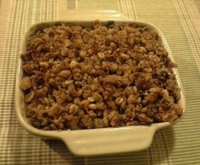 Apple & Raspberry Crumble. This is best served warm with custard and ice cream. This dessert has YIAH Black Forrest Dukkah sprinkled over the top, adding great flavour. Visit my Facebook page for the recipe for this delicious dessert. www.facebook.com/ChristinePryorYIAH