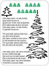 Les paroles de 3 chants de Noël illustrés pour la maternelle et le primaire mais aussi pour les adultes (Petit papa Noël, Mon beau sapin, Vive le vent.)