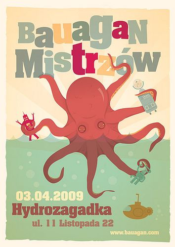 : Octopuses Illustration, Gig Posters, Typography Posters, Graphics Illustrations, Posters Design, Graphics Design, Bauagan Mistrzów, Octopuses Gardens, Colors Inspiration