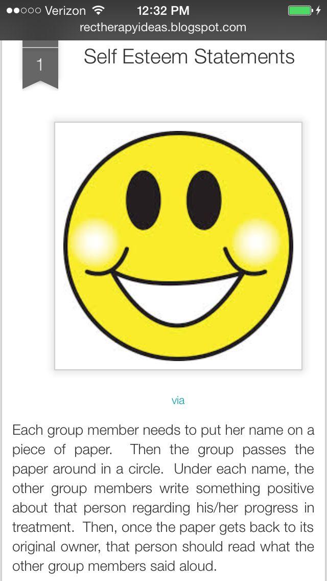 Self-Esteem activity. Adolescents. Social Work. Group Therapy. Mental Health.