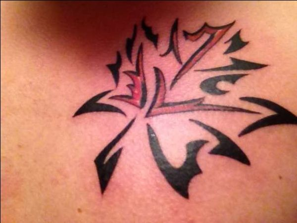 Tribal Maple Leaf Tattoo