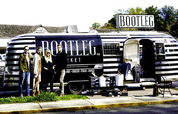 Bootleg. Showstore in a trailer featuring vintage Chanel Pumos, Jill Sander oxfords.  Austin, TX.