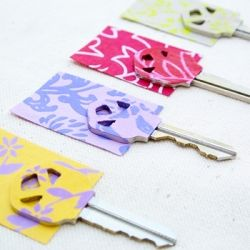 Got some colorful paper? Use it to color code your keys in minutes (easy tutorial) I need to try this and I love the pattern!