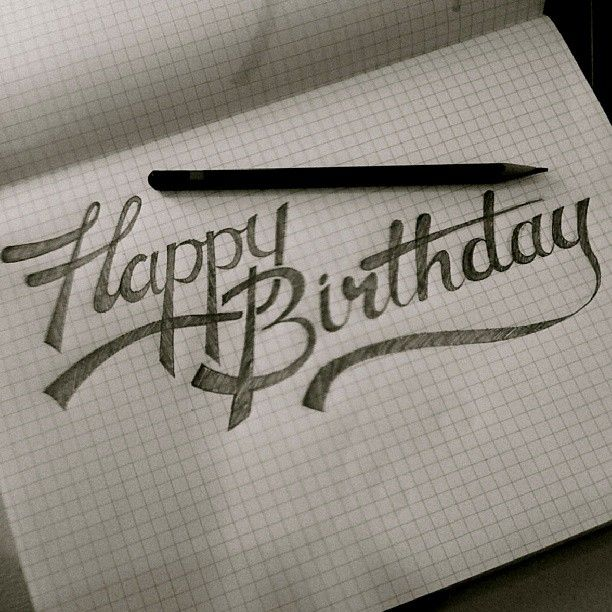 happy birthday! hand lettering - www.katehursthouse.com