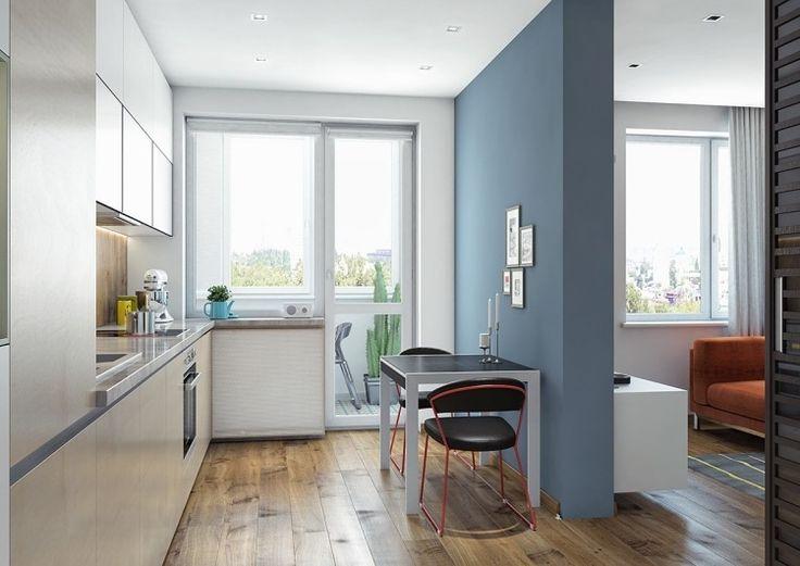 couleur gris taupe, meubles de cuisine beige pastel, table d'appoint design et chaise en cuir noir assorti