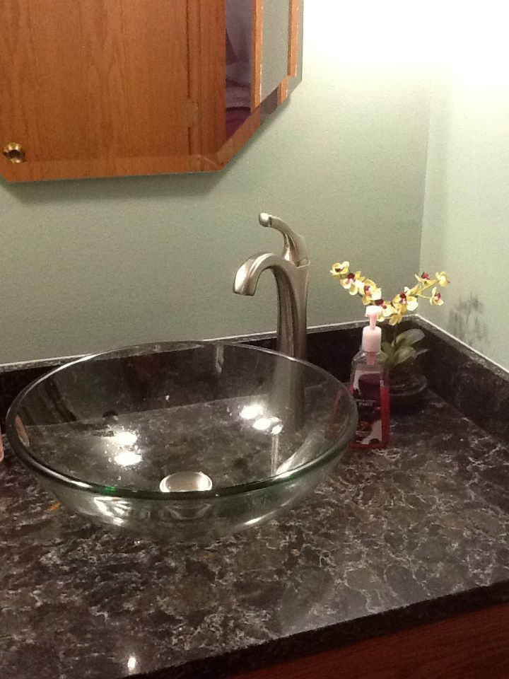 Quartz Vessel Sink : ... Pinterest Glass vessel, Glass vessel sinks and Quartz counter