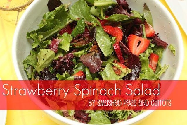 Strawberry spinach salad: Spinach Salad Recipes, Spinach Strawberries Salad, Strawberries Spinach Salad, Strawberry Spinach Salads, Salad Dresses, Carrots, Smash Peas, Saladrecip, Favorite Recipes