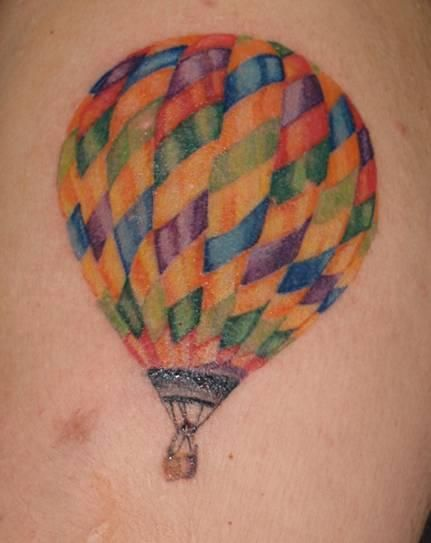 Hot Air balloon tattoo with no black outline by Char Hall ...