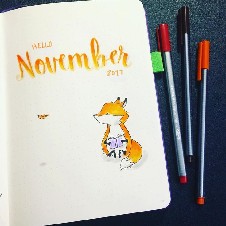 Beautiful bujo cover page for November 2017! Need ideas for a bullet journal monthly themes?!? Try cute animals! There are so many animals and cute doodles on Pinterest that you will find inspiration galore on these spreads! #bulletjournal #bujocommunity #diy #bulletjournaljunkies #plannercommunity #doodles