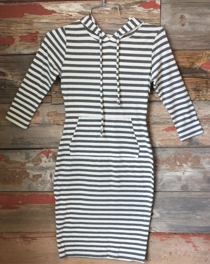 Striped Hooded Dress: Grey from privityboutique