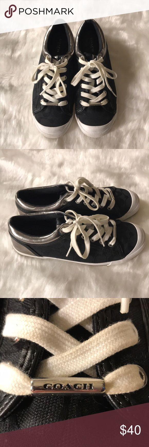 Coach Tennis Shoes Coach tennis shoes Francesca. They are black and silver with a white sole.  Size 7 1/2.  I wore them twice but hey are just too big for me. Coach Shoes Sneakers