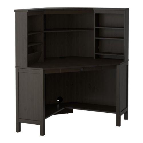 """HEMNES Corner workstation IKEA Solid wood. Dark stain only. $400 width: 40 1/8 """" Depth: 40 1/8 """" Height: 53 7/8 """""""