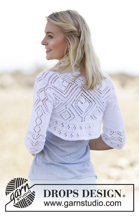 "DROPS square knitted bolero with lace pattern in ""Safran"". Size: S - XXXL. ~ DROPS Design"