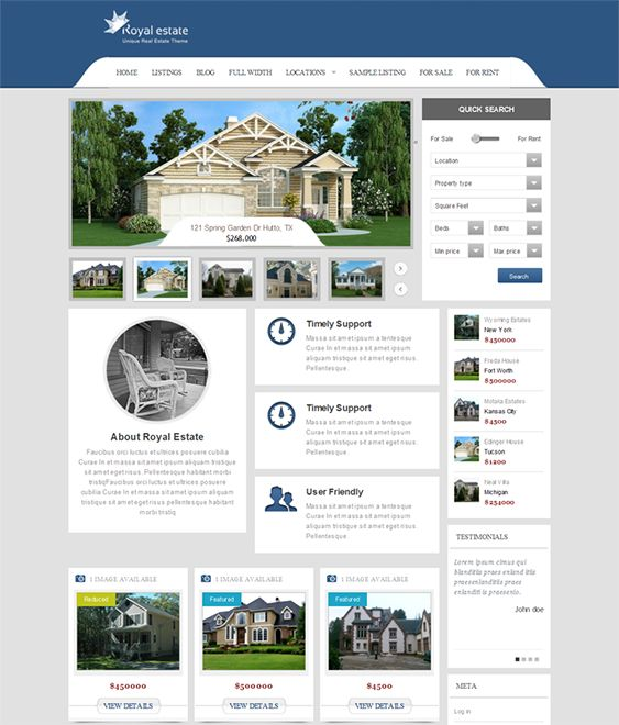 This real estate WordPress theme includes a responsive layout, customizable currency, 5 widgets, a featured image slider manager, 18 shortcodes, and more.
