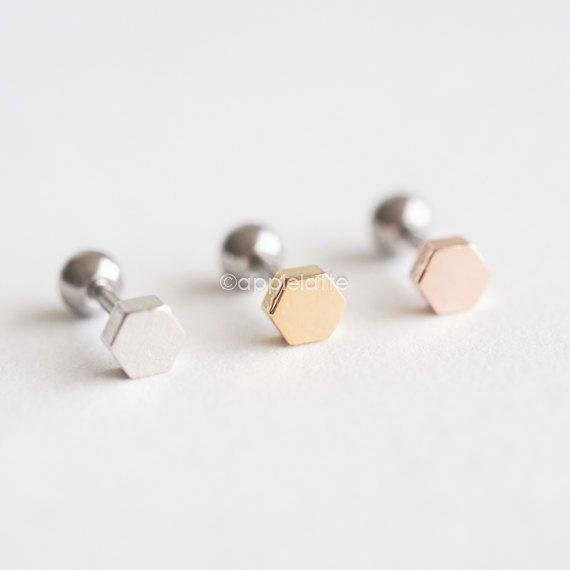 Geometric Cartilage Earring, Bolt and Nut Ear Piercing, Simple Barbell Cartilage, Cartilage Stud, Tragus Ear Piercing, 16 Gauge, Cartilage Earring,
