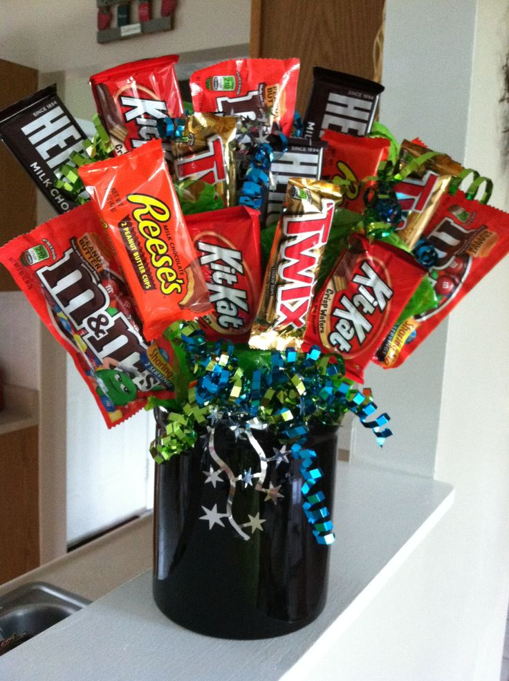 """Candy bouquet. 6th anniversary """"sweets"""" gift. I made this for Joey for our anniversary."""