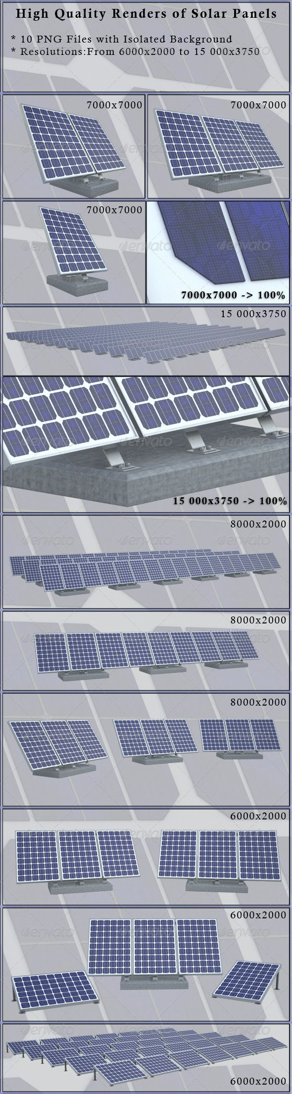 Solar Panels  #GraphicRiver         10 high quality renders of solar panels. The main archive include: 10 png files without background. Resolutions: Image01 – 7000×7000 image02 – 7000×7000 image03 – 7000×7000 image04 – 15 000×3750 image05 – 8000×2000 image06 – 8000×2000 image07 – 8000×2000 image08 – 6000×2000 image09 – 6000×2000 image10 – 6000×2000  	 My Latest Projects  	         	 Wall Picture Mock-Ups  	       	  Other Mock-Ups   	        	 Car Mock-Ups  	                           	 3D…