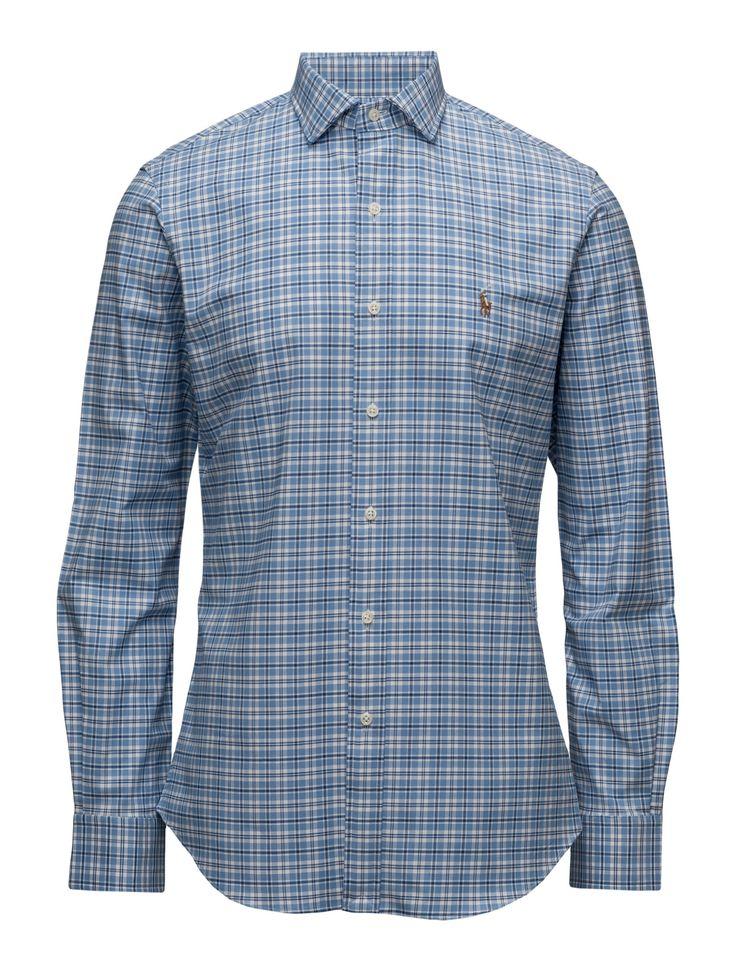 polo ralph lauren slim-fit stretch oxford shirt - shirts 1602s azure/navy  muliti