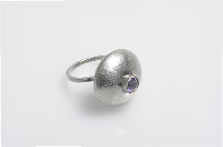 Sterling silver dome ring Satin finish Stone setting: African Amethyst