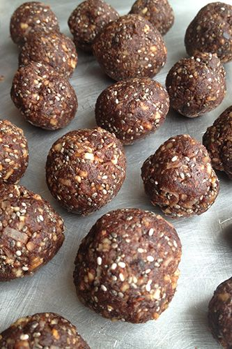 Raw Superfood Balls 1/2 cup raw walnuts 1/2 cup raw almonds 1/4 cup chia seeds 1 cup pitted Medjool dates (about 10) 1/4 cup unsweetened dried coconut 1/3 cup cacao powder (sub cocoa or carob powder) 1 tsp pure vanilla extract 1/2 tsp maca powder 2 tbsp water Pulse in food processor. Roll into balls.