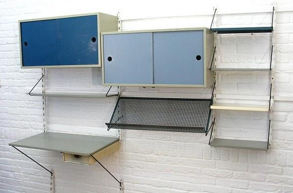 Pilastro complete wallsystem, storage and desk, Dutch industrial vintage design 1950's