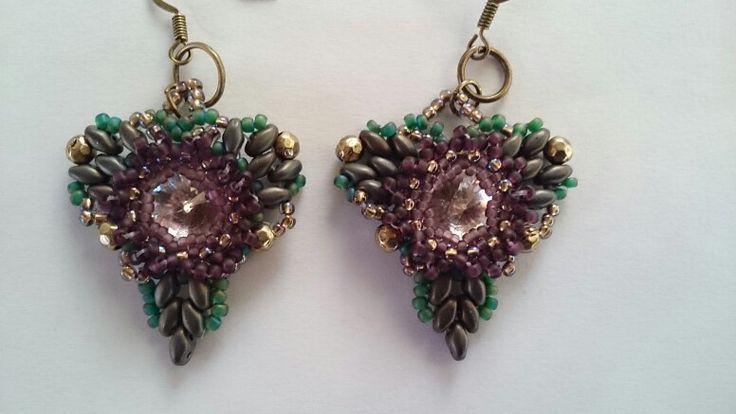Earrings with toho beads,  superduo,  firepolish and rivoli