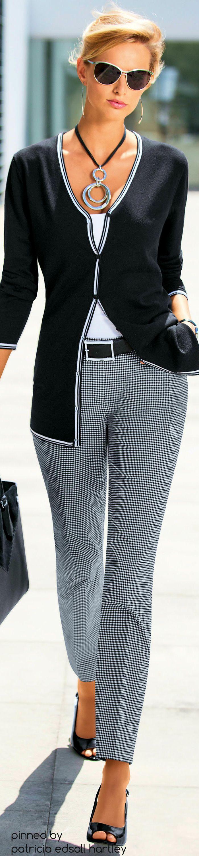 Love this look, esp. Slacks Clássico Preto e Branco! Visual clean e elegante! Básico & Chic!