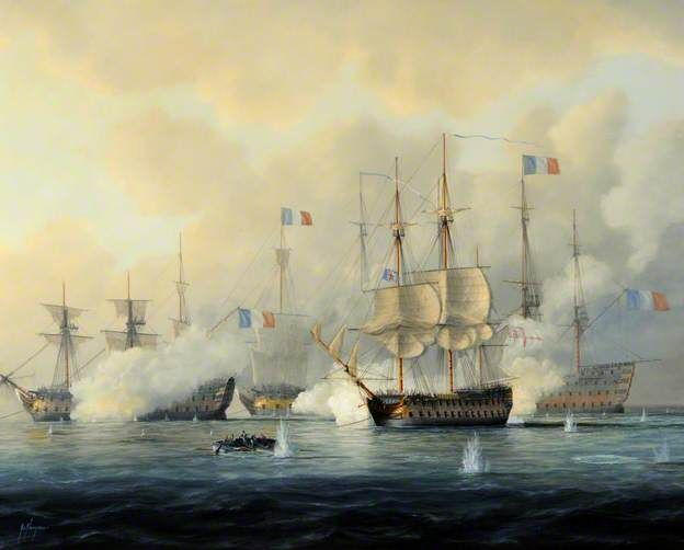 Battle of the Nile, the 'Orion' under Captain Sir James Saumarez Giving the Enemy Ships 'Le Peuple Souverain', 'Franklin' and 'L'Orient' a Broadside, 1 August 1798