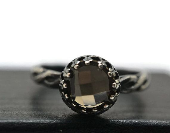 Smoky Quartz Ring Gothic Engagement Ring with Engraving