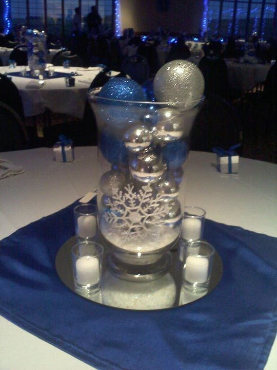 Winter Wedding :  wedding Centerpiece...with silver branches coming out of it?