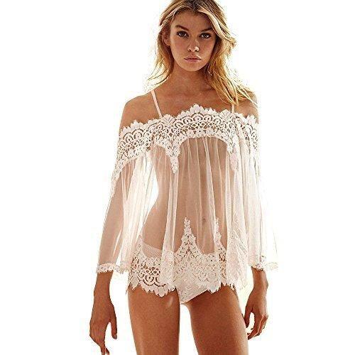 Lingerie Toraway Women Exotic Nightwear Lingerie Sleepwear Lace Babydoll Dress Underwear (Large White)