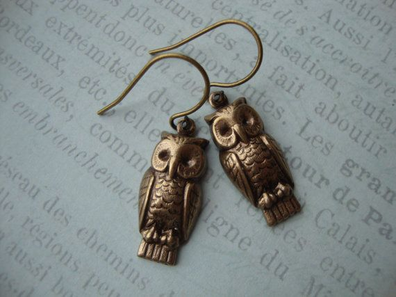 Annabeth - Daughter of Athena - Percy Jackson Inspired Owl Earrings in Antiqued Brass on French Hook Ear Wires - Wisdom Owl Camp Halfblood on Etsy, $13.00