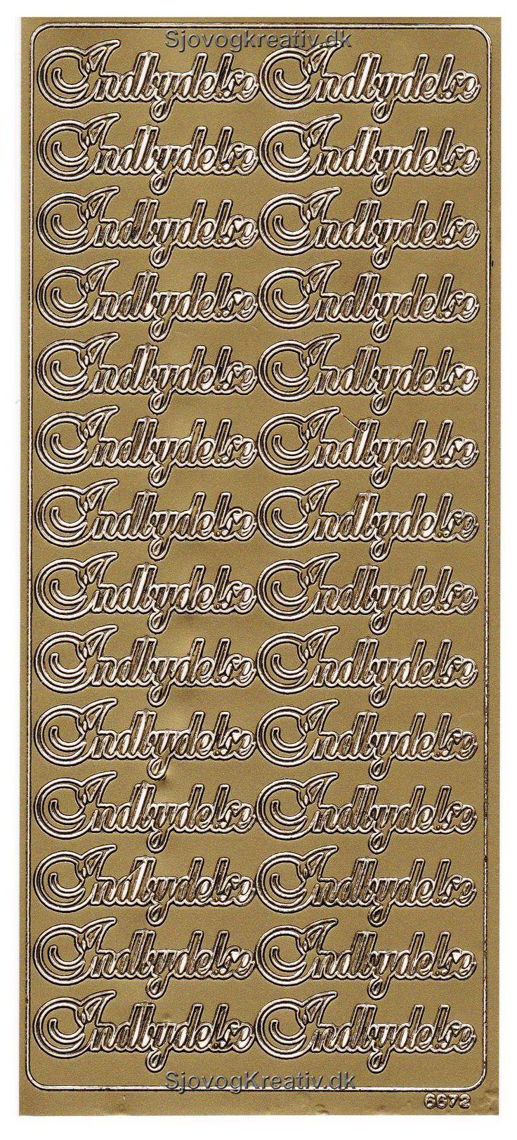 Sickers ark med guld skrift med Indbydelse til dine fest invitationer fra sjovogkreativ.dk