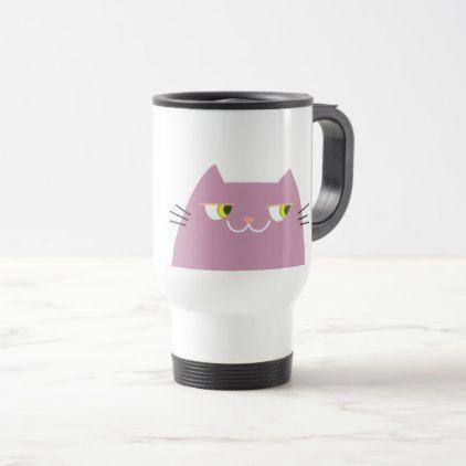 Cat Pink Cute Funny Good Person Cartoon Cool Travel Mug - cat cats kitten kitty pet love pussy