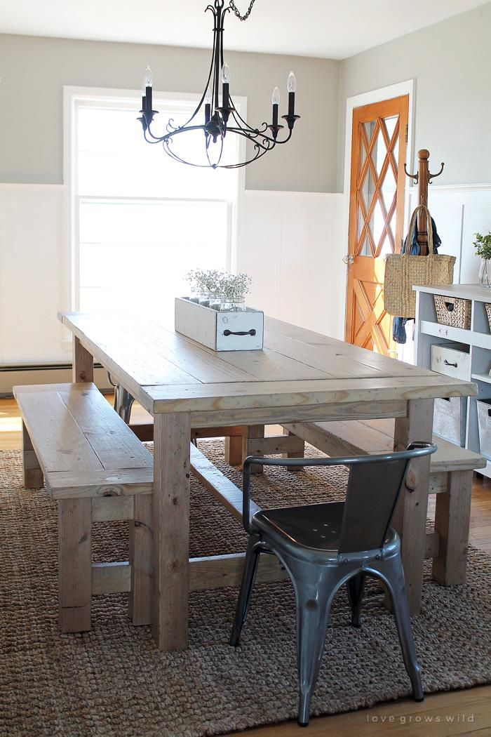 Farmhouse table ana dining room inspiration pinterest posts ana white and - Ana white kitchen table ...