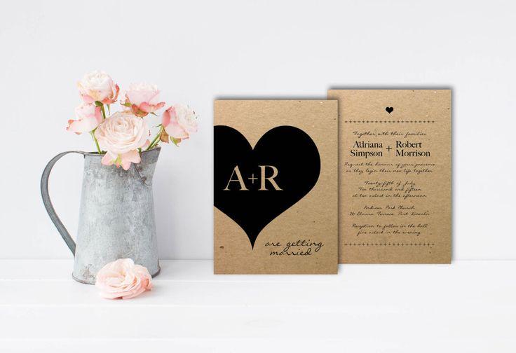 A personal favourite from my Etsy shop https://www.etsy.com/au/listing/462858241/kraft-wedding-invite-love-heart-wedding