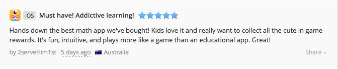 A lovely review from a happy customer :) #mathapp #kidsapps #math #maths #kids #parents #teachers