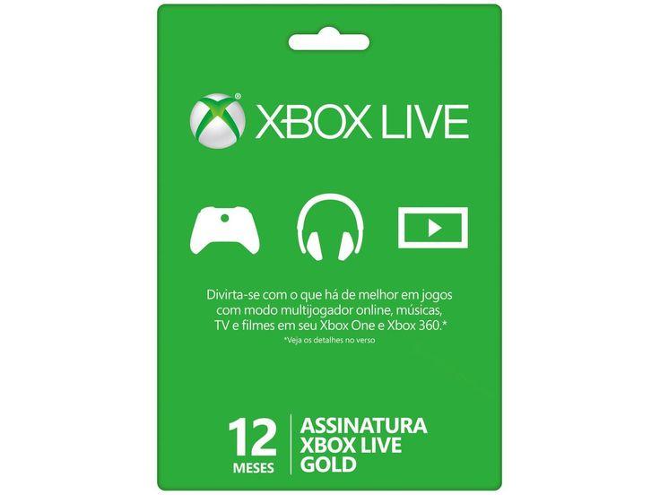 Magazine Luiza Live Gold Card Microsoft 12 Meses - para Xbox 360 e Xbox One - R$111,90