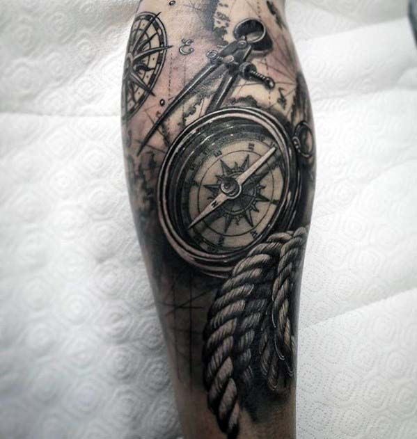 Mens 3d Compass With Rope Realistic Nautical Themed Leg Sleeve Tattoo