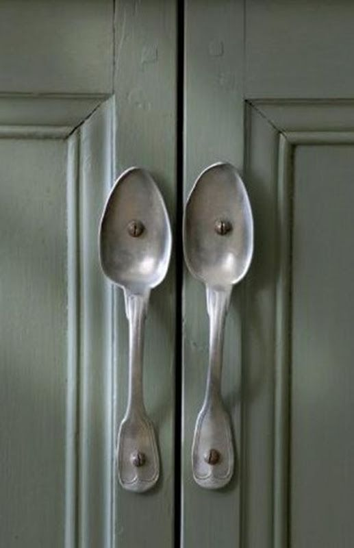 """LOVE, LOVE, LOVE this great idea for unique cabinetry """"pulls!"""" Shared via the 'Belgian Pearls' Blog"""