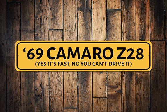 Camaro Owner Gift, Camaro Sign, Camaro Decor, Chevy Camaro Gift, Fast Car Sign, Custom Car Lover Gift - Quality Aluminum Sign ENS1002644