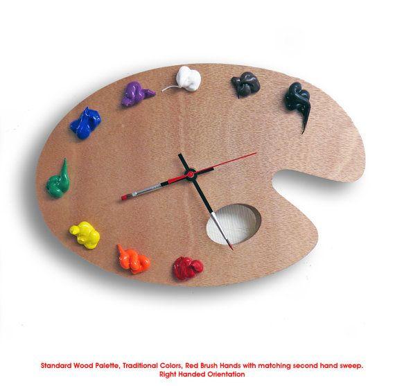 Artist Palette Clock, 3D Paint on Wood -TRADITIONAL, Left or Right Handed - Wall or Desk Clock -  art studio decor, artist painter gift
