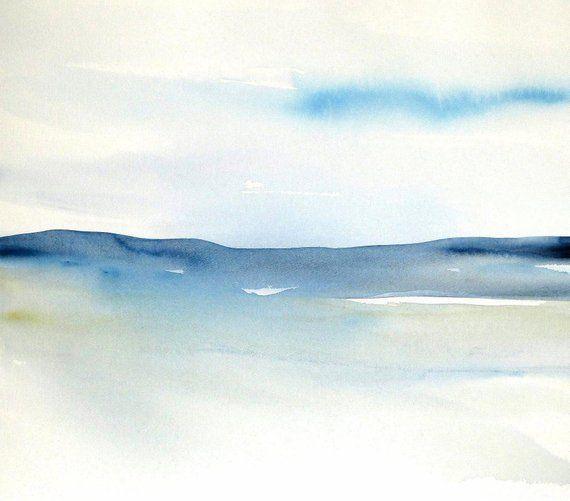 Original Abstract Landscape Watercolor Contemporary Seascape
