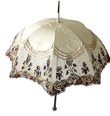 Antique Lace Parasol Multicolored Ivory Colored Silk Gorgeous Vintage Umbrella | eBay