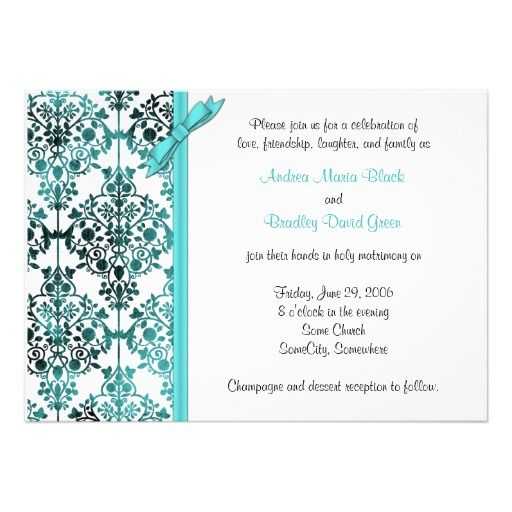 324 best aqua black wedding invitations images on pinterest card black white aqua damask floral wedding invitation stopboris Choice Image